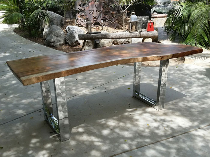 wood bench with steel legs