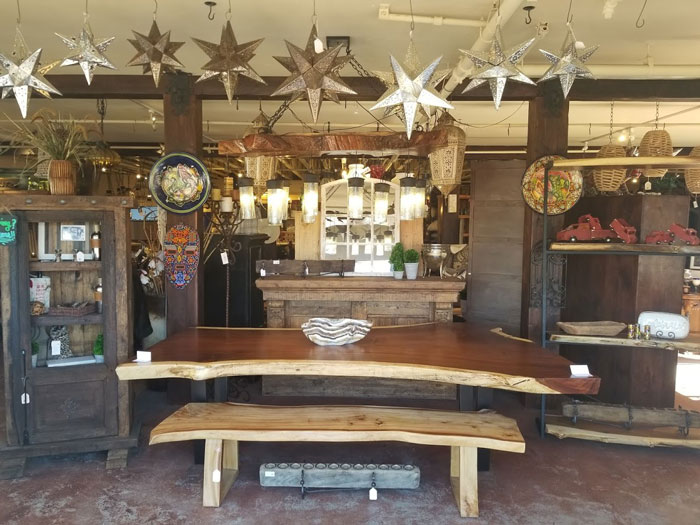 wood table and interior decor